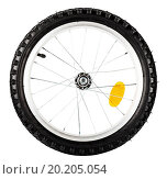 Купить «Front view of bike wheel isolated over white background», фото № 20205054, снято 14 февраля 2013 г. (c) easy Fotostock / Фотобанк Лори