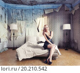 Купить «beautiful woman on the bed in abandoned interior», фото № 20210542, снято 9 февраля 2013 г. (c) easy Fotostock / Фотобанк Лори