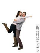 Купить «Smiling man lifting woman», фото № 20225294, снято 28 мая 2015 г. (c) Wavebreak Media / Фотобанк Лори