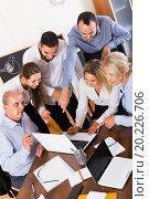 Купить «colleagues looking at laptop and smiling», фото № 20226706, снято 18 февраля 2019 г. (c) Яков Филимонов / Фотобанк Лори