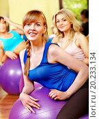 Купить «Women group in aerobics class.», фото № 20233134, снято 7 апреля 2012 г. (c) easy Fotostock / Фотобанк Лори
