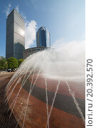 Купить «USA, BOSTON - 06 SEP, 2014: Cityscape with Prudental Center and fountain at the autumn day.», фото № 20392570, снято 6 сентября 2014 г. (c) Losevsky Pavel / Фотобанк Лори