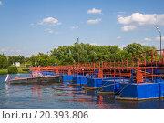 Купить «floating bridge on the Moskva river on sunny day», фото № 20393806, снято 1 июля 2014 г. (c) Losevsky Pavel / Фотобанк Лори