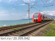 Купить «red train rides on rails along the seashore», фото № 20395042, снято 20 июля 2014 г. (c) Losevsky Pavel / Фотобанк Лори