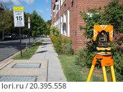 Купить «Threepod and sign Speed limit on the street at sunny day.», фото № 20395558, снято 28 августа 2014 г. (c) Losevsky Pavel / Фотобанк Лори