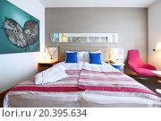 Купить «SOCHI, RUSSIA - JUL 25, 2014: Double room with one bed in the Hotel Radisson Blu Paradise Resort and Spa», фото № 20395634, снято 25 июля 2014 г. (c) Losevsky Pavel / Фотобанк Лори