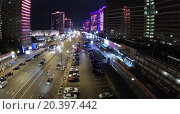 Купить «RUSSIA, MOSCOW - JUN 1, 2014: Colourful illumination on New Arbat street with traffic at night. Aerial view. Photo with noise from action camera», фото № 20397442, снято 1 июня 2014 г. (c) Losevsky Pavel / Фотобанк Лори