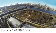 Купить «MOSCOW, RUSSIA - MAR 23, 2014: Aerial view of Moscow river near the Novodevichy Convent.», фото № 20397462, снято 23 марта 2014 г. (c) Losevsky Pavel / Фотобанк Лори