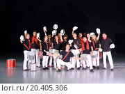 Купить «Music group of drummers in costumes with hats raised, 14 people», фото № 20405306, снято 26 сентября 2013 г. (c) Losevsky Pavel / Фотобанк Лори