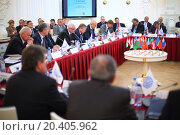 Купить «MOSCOW - OCT 10: Representatives of the International Congress of Industrialists and Entrepreneurs, on October 10, 2013 in Moscow, Russia.», фото № 20405962, снято 10 октября 2013 г. (c) Losevsky Pavel / Фотобанк Лори