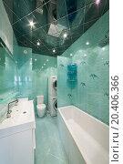 Купить «Modern bathroom celadon with bathtub and toilet bowl», фото № 20406366, снято 14 января 2014 г. (c) Losevsky Pavel / Фотобанк Лори