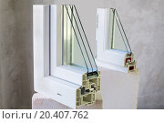 Купить «Two sample of PVC windows stands on a concrete block», фото № 20407762, снято 2 августа 2013 г. (c) Losevsky Pavel / Фотобанк Лори