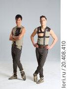 Купить «Two handsome young man dressed in costumes», фото № 20408410, снято 14 апреля 2014 г. (c) Losevsky Pavel / Фотобанк Лори