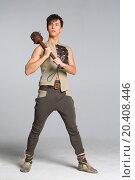 Купить «Young man in costume with a mace in hand», фото № 20408446, снято 14 апреля 2014 г. (c) Losevsky Pavel / Фотобанк Лори