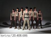 Купить «Group of seven young beautiful men in the costumes», фото № 20408686, снято 15 апреля 2014 г. (c) Losevsky Pavel / Фотобанк Лори