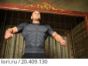 Купить «Strong man with stern look around cage for wild animals», фото № 20409130, снято 19 апреля 2014 г. (c) Losevsky Pavel / Фотобанк Лори