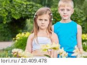 Купить «Little boy and girl stand among bunches of flowers in summer park», фото № 20409478, снято 2 июля 2013 г. (c) Losevsky Pavel / Фотобанк Лори