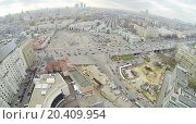 Belorussky Railway Station and Leningradsky prospectus in Moscow, Russia. View from unmanned quadrocopter (2013 год). Редакционное фото, фотограф Losevsky Pavel / Фотобанк Лори