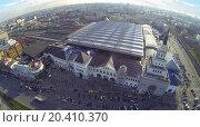Купить «MOSCOW, RUSSIA - NOV 09, 2013: (view from unmanned quadrocopter) Kazansky railway stations. Station was opened in 1864.», фото № 20410370, снято 9 ноября 2013 г. (c) Losevsky Pavel / Фотобанк Лори