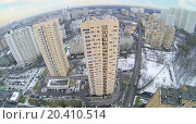 Купить «Many high residential buildings in neighborhood at winter. Aerial view», фото № 20410514, снято 19 декабря 2013 г. (c) Losevsky Pavel / Фотобанк Лори