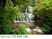 Купить «Cascading waterfall on the Purakaunui River in the South Island of New Zealand», фото № 20449146, снято 5 января 2010 г. (c) easy Fotostock / Фотобанк Лори