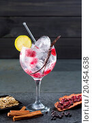 Купить «Gin tonic cocktail with raspberry lima slice and ice vanilla cardamom juniper berries on black», фото № 20454638, снято 24 января 2013 г. (c) easy Fotostock / Фотобанк Лори