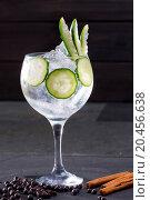 Купить «Gin tonic cocktail with cucumber and cinnamon and juniper berries on black», фото № 20456638, снято 24 января 2013 г. (c) easy Fotostock / Фотобанк Лори