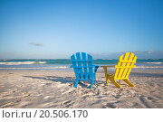 Купить «Beach wooden colorful chairs for vacations on tropical beach in Tulum, Mexico», фото № 20506170, снято 26 января 2013 г. (c) easy Fotostock / Фотобанк Лори