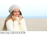 Купить «Woman smiling warmly clothed in winter», фото № 20513574, снято 19 января 2019 г. (c) PantherMedia / Фотобанк Лори