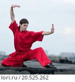 Купить «Shaolin warriors wushoo man in red practice martial art outdoor. Kung fu», фото № 20525262, снято 10 августа 2011 г. (c) easy Fotostock / Фотобанк Лори