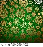 Купить «Зелёный фон с жёлтыми снежинками», иллюстрация № 20669162 (c) Владимир / Фотобанк Лори