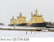 Купить «Ледоколы в Хельсинки зимой», фото № 20716626, снято 9 января 2016 г. (c) Валерия Попова / Фотобанк Лори