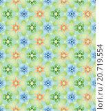 Бесшовный фон с разноцветными цветами на зеленом. Стоковая иллюстрация, иллюстратор Костенко Юлия / Фотобанк Лори