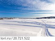 Купить «Следы снегоходов на замерзшем озере», фото № 20721522, снято 1 февраля 2014 г. (c) Евгений Ткачёв / Фотобанк Лори