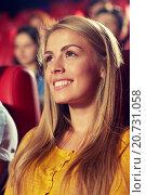 Купить «happy young woman watching movie in theater», фото № 20731058, снято 19 января 2015 г. (c) Syda Productions / Фотобанк Лори
