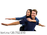 Купить «Cheerful couple with arms outstretched», фото № 20732610, снято 28 мая 2015 г. (c) Wavebreak Media / Фотобанк Лори