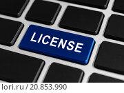 Купить «license button on keyboard», фото № 20853990, снято 13 декабря 2018 г. (c) PantherMedia / Фотобанк Лори
