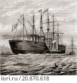 Купить «SS Great Eastern. Iron sailing steam ship designed by Isambard Kingdom Brunel. Later converted to a cable-laying ship and laying the first lasting transatlantic...», фото № 20870618, снято 6 июня 2020 г. (c) age Fotostock / Фотобанк Лори