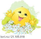 Купить «Веселый колобок на лужайке с цветами», иллюстрация № 21105018 (c) Panchenko Andrey / Фотобанк Лори