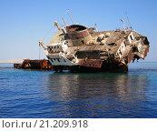 Затонувший корабль на отмели. Красное море, Египет. Стоковое фото, фотограф Alex Chernikov / Фотобанк Лори