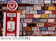 Купить «Vintage number plates, Hole In The Rock, Utah, United States of America, North America», фото № 21279882, снято 10 августа 2015 г. (c) age Fotostock / Фотобанк Лори