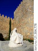Купить «Statue St. Teresa Cathedral Avila Spain Castile-Léon Medieval.», фото № 21304778, снято 22 сентября 2015 г. (c) age Fotostock / Фотобанк Лори