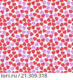 Купить «Бесшовный фон с разноцветными сердечками», фото № 21309318, снято 13 декабря 2019 г. (c) Boroda / Фотобанк Лори