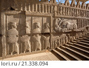Купить «Iran, Persepolis City, Ruins of Persepolis,Relief at the Apadana Staircase, Apadana Palace.», фото № 21338094, снято 23 сентября 2015 г. (c) age Fotostock / Фотобанк Лори