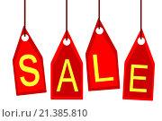 Купить «Красные этикетки и ценники со словом '' Sale ''», иллюстрация № 21385810 (c) Сергеев Валерий / Фотобанк Лори