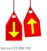 Купить «Желтые стрелки на красных ценниках», иллюстрация № 21399118 (c) Сергеев Валерий / Фотобанк Лори