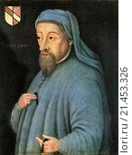 "Купить «Geoffrey Chaucer, c. 1343 â. ""1400, aka the Father of English literature. English author, poet, philosopher, bureaucrat, and diplomat. From Impressions of English Literature, published 1944.», фото № 21453326, снято 16 декабря 2017 г. (c) age Fotostock / Фотобанк Лори"
