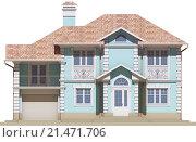 Фасад голубого дома. Стоковая иллюстрация, иллюстратор Elizaveta Kharicheva / Фотобанк Лори