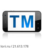 Купить «Law concept: Trademark on smartphone», фото № 21613178, снято 19 января 2020 г. (c) easy Fotostock / Фотобанк Лори