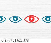 Купить «Privacy concept: eye icon on wall background», фото № 21622378, снято 19 января 2020 г. (c) easy Fotostock / Фотобанк Лори